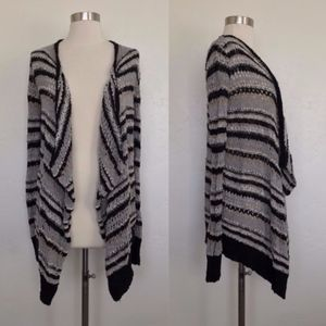 AEO Striped Open Knit Open Front Cardigan XXS